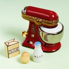 Limoges Red Mixer Box with Milk, Egg and Flour The Cottage Shop