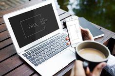 Free Macbook and iPhone 6 Mockup