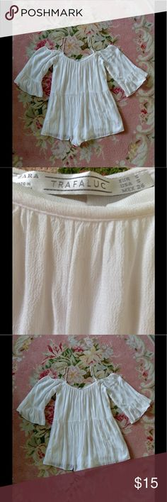 Zara Romper Excellent condition white romper. I wear a medium, so it would fit better on a small. Zara Dresses Mini