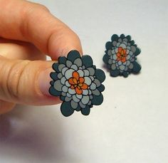 earrings orange, flower shape, in shrinky dink