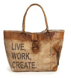 """12½""""L x 11½""""H x 4""""D. Lined canvas bag with leather elements. Our Live, Work, Create Canvas Tote features drop handles and other elements in soft leather. It features an inside pocket with a stylish ti"""