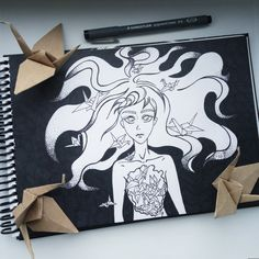 Art Crane Origami Insideout  Drawing Sketch Sketchbook Girl Hair Romantic  Staedler Liner
