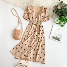 Cheap Dresses, Buy Directly from China new fashion womens dresses Vintage Love Dress V-neck Short Sleeve Casual Work Dresses, Modest Dresses, Cute Casual Outfits, Modest Outfits, Stylish Dresses, Cheap Dresses, Pretty Outfits, Pretty Dresses, Beautiful Dresses