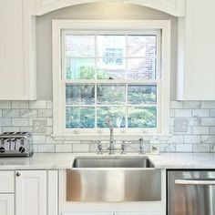images of white kitchens gray backsplash | steel sink. backsplash. white kitchen. grey paint.