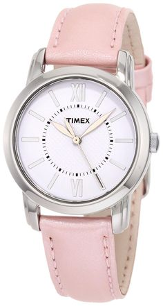 Timex Women's T2N684 Elevated Classics Dress Uptown Chic Pink Metallic Leather Strap Watch *** Click image to review more details.