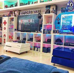 Video Game Decor, Video Game Rooms, Video Games, Sala Nerd, Deco Gamer, Girly Games, Geek Room, Gaming Room Setup, Gaming Rooms