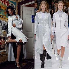 Rihanna in W Korea wearing Dior spring 2015 white coat and quilted dress, Giuseppe Zanottie chain-trimmed mule sandals