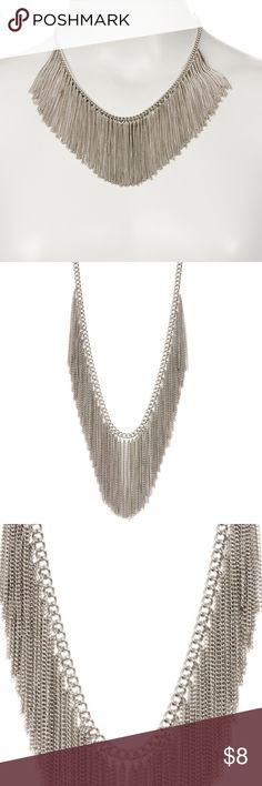 """Chain Fringe Necklace by Natasha Accessories NWOT - Chain Fringe Necklace by Natasha Accessories NWOT  - Color: Silver - Chunky chain with fringe bib necklace - Lobster clasp - Approx. 17"""" length with 3.5"""" extension  - Approx. 2.25"""" fringe length  - Materials: Base metal  All my items from a smoke-free and pet-free home. Items are priced to go, make an offer it the price doesn't work for you. Bundle it up and make an offer if it suits you, I love to give discounts on multiple items! Happy…"""