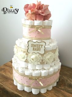 Blush Pink and Gold Diaper Cake, Blush Pink, Ivory, and Gold Baby Girl Shabby…