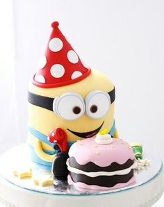 Minion cake I'm getting ideas for Nate's 3rd Birthday