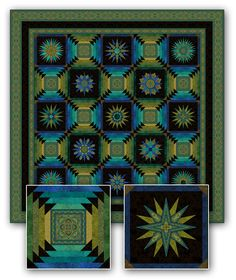 Jinny Beyer Studio - Solstice Quilt - Solstice is Jinny's 2013 Block-of-the-Month design. It is a striking quilt featuring thirteen compass blocks, alternating with a log cabin block with flying geese corners.