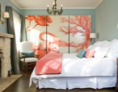 Coral is a great color to combine with other colors such as turquoise, teal, gray or your basic neutrals. My favorite combination is turquoise and coral, it adds a lively, fresh, exuberant feeling to a bedroom, living room, office space or even a spa. Read my blog for more info!!! http://evpo.st/1fGuVg1