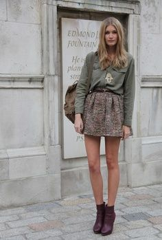 Fashion World: Grey skrut and brown shoes