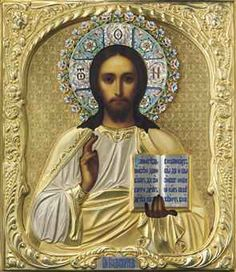 A SILVER-GILT AND CLOISONNÉ ENAMEL ICON OF CHRIST PANTOCRATORwww.Christies.com     MAKER'S MARK CYRILLIC 'SKH,' MOSCOW, 1908-1917