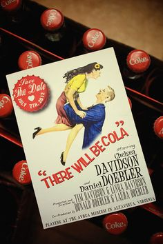 These retro, vintage style Coca-Cola themed save-the-dates are irrestibly cute, and I love the idea of personalised bottle cap pins!