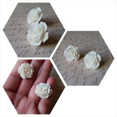 White rose earrings New- butterfly back Accessories