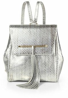 B Brian Atwood Juliette Metallic Snake-Embossed Leather Small Backpack on shopstyle.com