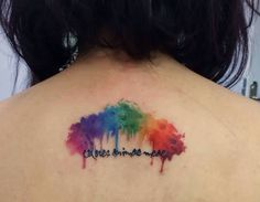 Watercolor Rainbow And Word Tattoos On Upperback