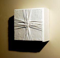 "SEQUENTA  12""x12""x6"" wood, cotton, plaster, paint   - Paul McIntire-sculptor"