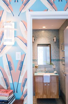 Beautiful and colorful wallpaper in bathroom