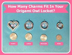 Origami Owl locket sizes - How many charms will fit in YOUR Origami Owl locket? www.juliewilliams.origamiowl.com