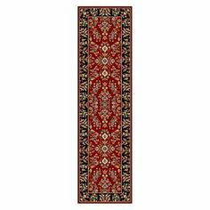 Safavieh LNH331B Lyndhurst Collection Red and Black Area Runner, 2-Feet 3-Inch by 22-Feet by Safavieh. $135.99. This rug features a red background and black border, and displays beautiful panel colors of burgundy, green, gold and blue. The powerloomed construction adds durability to this rug, ensuring it will be a favorite for many years. This runner measures 2-feet 7-inch by 22-feet. The high-quality polypropylene pile fiber adds durability and longevity to these rug...