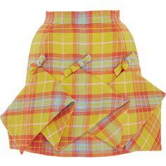DELPOZO     Panel Checkered Mini Skirt (12,605 CNY) ❤ liked on Polyvore featuring skirts, mini skirts, bottoms, yellow, foldover skirts, high waisted mini skirt, checkered mini skirt, high waisted short skirts and yellow checkered skirt