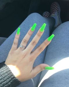 Get ready to see the trendiest summer nails and book a nail salon appointment already because that's the first place you'll run right after what you see! Scroll down to inspire from Over 50 Bright Summer Nail Designs! Neon Green Nails, Bright Summer Nails, Neon Nails, Bright Nails Neon, Glittery Nails, Cute Acrylic Nails, Cute Nails, Short Nail Designs, Nail Art Designs