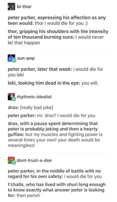 "Idk, I think Loki would hesitate at first, fighting back tears while put on a fake smug face before in a slightly choked voice saying ""You will."" because come on, we know he's emotional af Avengers Memes, Marvel Memes, Marvel Dc Comics, Marvel Avengers, Dc Memes, Superfamily, Funny Tumblr Posts, Marvel Funny, Marvel Cinematic Universe"