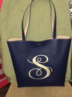 Reversible navy tan purse bag tote monogrammed $30