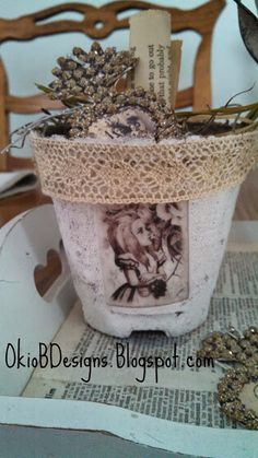 Alice in Wonderland peat pot.  Okio B Designs