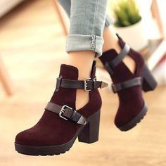 This are amazing!! They are red/ brown swayed, heel boots. I really want these, I love the colour, shape and style. Perfect for autumn/winter. Can wear these with jeans, skirt or even a dress. Found...