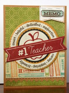 #1 Teacher Back-To-School card by Kimber McGray - Two Peas in a Bucket #cardmaking #back to school