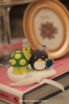 turtle and penguin Wedding Cake Topper