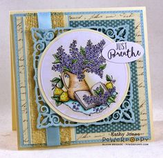 Inspired to Stamp: Lilac Time stamp set by Power Poppy, card design by Kathy Jones.