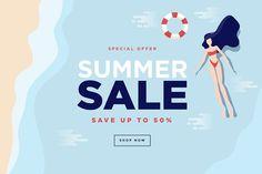 Summer sale banner by PureSolution on Envato Elements Sale Banner, Web Banner, Banners, Banner Vector, Banner Template, Banner Design Inspiration, Newsletter Design, Social Media Banner, For Sale Sign