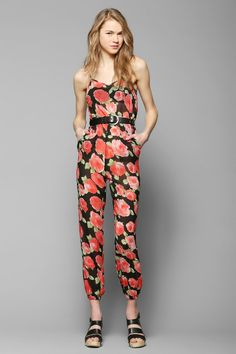 Pins And Needles Sheer Floral Jumpsuit