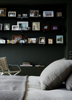 black walls, gray bedding