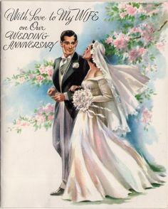 Vintage wedding anniversary card