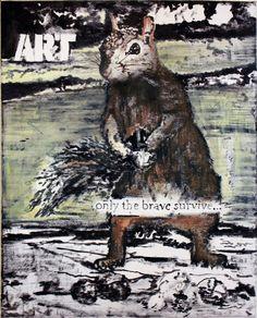 Art-only the Brave survive! #saschaboldt #pop #art #painting #contemporaryart #squirrel #slogan #sundaymorning #ice