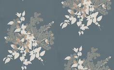 Blooming Bouquet (391011) - Brewers Wallpapers - A large floral bouquet motif in off  white and pale metallic gold on a matt dark grey background.  Paste the wall. Please request sample for true colour match.
