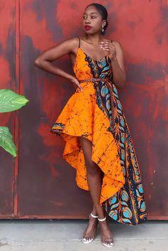 African Wear Dresses, African Fashion Ankara, Beach Dresses, Casual Dresses, Robes Glamour, Burnt Orange Dress, Ankara Dress, Mid Length Dresses, Asymmetrical Dress