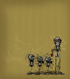Ilustración original de Iñaki Landa (http://www.flickr.com/photos/kaktusak/) para la portada del nº12: #Ciborgs