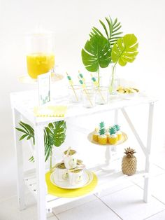 Pineapple party table from a Pineapple Birthday Party via Kara's Party Ideas