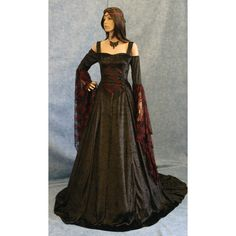Gothic Dress Renaissance Dress Medieval Dress Halloween Wedding Dress... (1.930 DKK) ❤ liked on Polyvore featuring dresses, bridal gowns & separates, grey and weddings