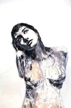 Alexa Meade painted directly on Sheila Vand's body