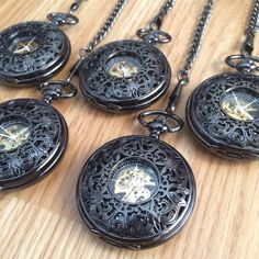 Groomsmen Set of 5 Gunmetal Black Pocket watch with chains Mechanical Watch Personalized Gift