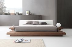 Modrest Opal Modern Walnut & White Platform Bed - Queen Size