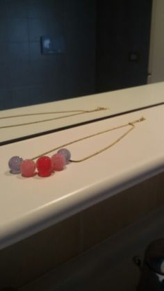 Collana catena ora è pietre semi preziose colori pastello