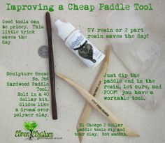 A quick, simple way to make those cheapo clay tools work better on polymer clay! But maybe using nailpolish or polycrylic/polyurethane would be cheaper than resin. Doll Making Tutorials, Craft Tutorials, Diy Clay, Clay Crafts, Bjd, Porcelain Dolls Value, Polymer Clay Tools, Cold Porcelain, Porcelain Tiles